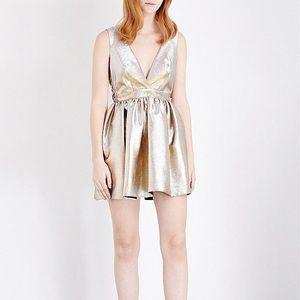 NWT SANDRO Paris Gold Metallic Mini Dress Size 2